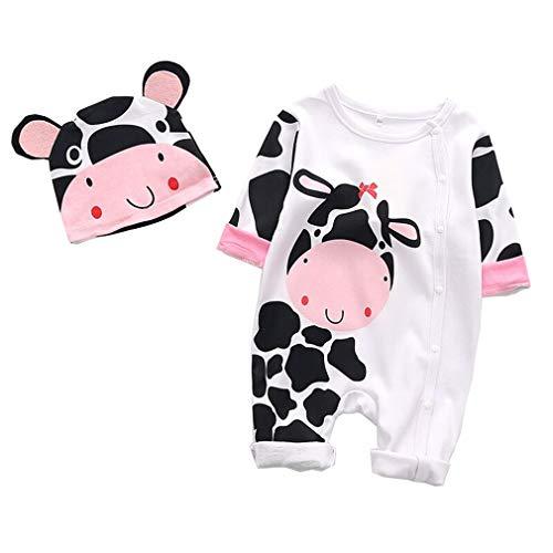 mama stadt Neugeborene Jungen Mädchen Kleidung Sets,Baby Tierspielanzug Strampler + Hut Outfits Pyjamas,Kuh(Weiß) ()