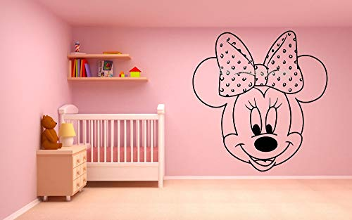 HNXDP Pretty Cartoon Topolino Minnie Wall Sticker Vinile Nursery Cameretta per bambini Ragazza Camera Decorazioni per la casa adesivo de parede EA696   42x42cm