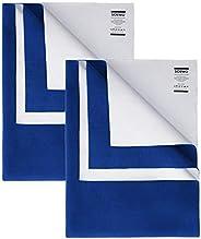 Amazon Brand - Solimo Baby Water Resistant Dry Sheet, Medium, 100cm x 70cm, Royal Blue, Set of 2