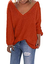 feecc94980e07f Dinglong Women's Loose Long Sleeve Sweatershirt Jumper V-Neck Knitted  Pullover Loose Solid Sweater Knitwear