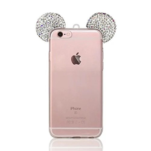 MOMDAD Etui Transparent pour Apple iPhone 6/6S (4.7 pouces) TPU Coquette Gel Coque Ultra Mince Case Cover Telephone Portable Soft Housse iPhone 6S Cas Flex Silicone Protection Shell Coquille Couvrir C Diamant oreille-blanc