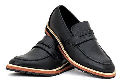 Alla Moda, Da Uomo Penny Mocassini Da Infilare Classico Scarpe Casual Elegante Designer mocassini misura UK Nero