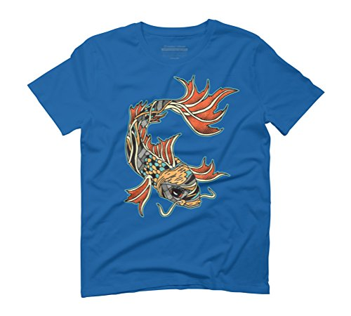 Biomechanical Koi Men's Graphic T-Shirt - Design By Humans Royal Blue