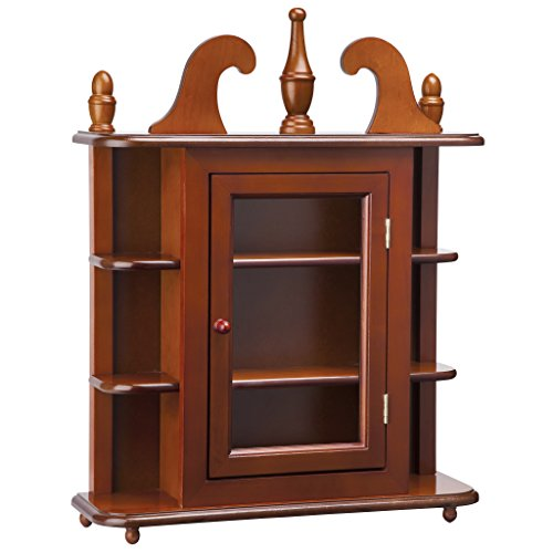 Design Toscano Savile Row Vitrine-Wandmontiertes Kuriositätenkabinett, Nussbraun - Traditionelle Holz-vitrine