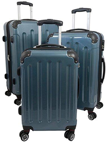 3tlg. Polycarbonat Hartschalen Koffer Trolley Reisekoffer Reisetrolley Handgepäck Boardcase Mauritius (Taubenblau)
