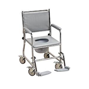 CARELINE Toilettenrollstuhl Mobil, Sitzbreite 43 cm, Gesamtbreite 55 cm, maximale Belastbarkeit 190 kg, Polster Schwarz