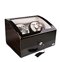 Axis Ebony Luxury Automatic 4 Watch Winder With 5 Watch Storage