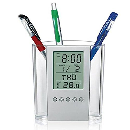 alletechplus Digital Schreibtisch Pen Stifthalter LCD Wecker Thermometer Kalender Display für Home Office Schule [Back to School] Ein Thermometer Pen