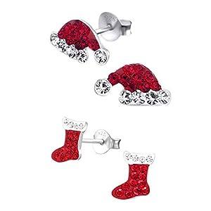 FIVE-D 2 Paar Ohrringe Weihnachtsmütze und Stiefel Kristall 925 Sterling Silber in Schmucketui
