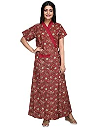13c4c9886be Baby Doll 100% Pure Cotton Robe Gown House Coat Nighty for Women Ladies  Full Long, Front Open, with Belt Adjustable in Size Medium…
