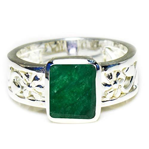 Gemsyogi Unisex Herren Damen - Sterling-Silber 925 Sterling-Silber 925 Emerald-Cut Green Smaragd