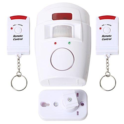 Trixes batteriebetriebener Bewegungsmelder Sensor-Alarm mit Fernbedienungen für Garten Schuppen und Wohnwagen - Motion Sensor Alarm