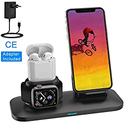 SIMPFUN Chargeur sans Fil W01 Station de Charge Rapide Wireless Qi pour Apple Watch 4/3/2/1, AirPods, iPhone XS/XR/X/8/8 Plus, Samsung Galaxy S9/S9 Plus/Note 8/S8/S8 Plus