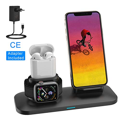 1 Ladestation (SIMPFUN Ständer Kompatibel für Apple Watch, Serie 4,3,2,1, Airpods, 7.5W Fast Wireless Charger Ständer Qi Ladegerät 3 in 1 Ladestation für iPhone XS/XR/X/ 8/8 Plus Samsung Qi-fähigen Geräte)