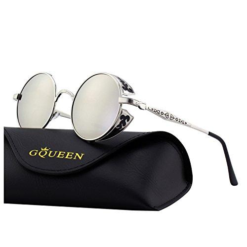 Gqueen occhiali da sole retro uomo e donna rotondi steampunk polarizzati in metallo con protezione uv400 mts1