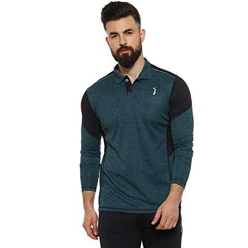 Campus Sutra Solid Men Polo Neck Green Sports T Shirt