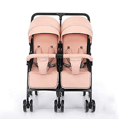 QZX Silla de Paseo Doble en tándem Baby Pram Tandem Buggy Silla de Paseo para recién Nacido con Respaldo Ajustable y reposapiés