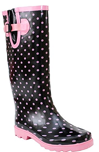 Wyre Valley Damen Gummistiefel, Schwarz - Black Pink Spots - Größe: 40