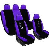 WOLTU AS7242la Set Coprisedili Auto 5 Posti Seat Cover Protezioni Universali per Macchina con Motivo Farfalle Tessuto Poliestere Viola