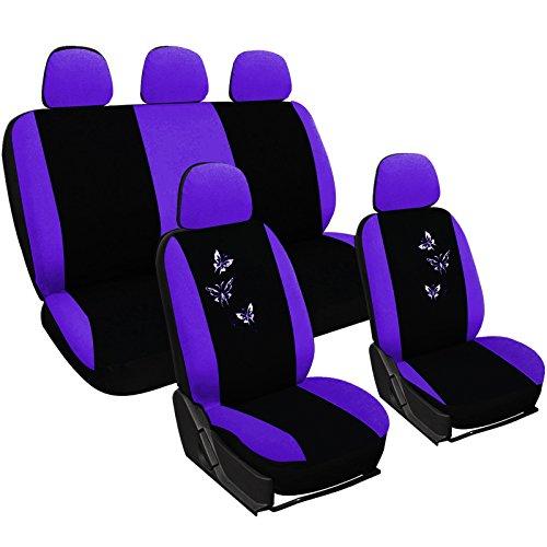 WOLTU AS7242la Set Coprisedili Auto 5 Posti Seat Cover Protezioni Universali per Macchina con Motivo Farfalle Tessuto Poliestere Viola/Nero