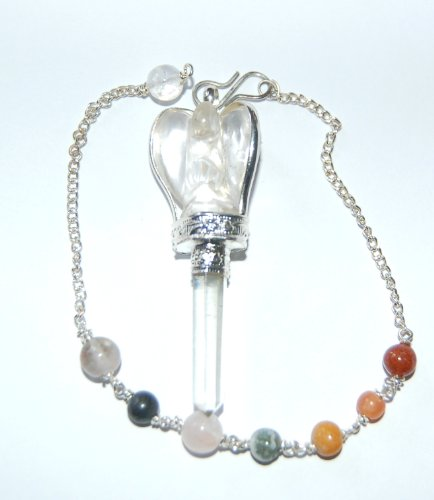 Grande angelo cristallo quarzo 7Chakra Pendolo Bacchetta-Master cristallo di guarigione