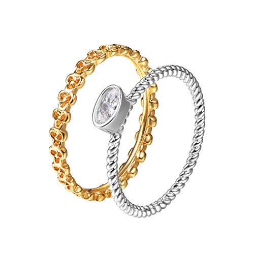 Suplight Damen Ring 2Pcs Finger Ring Set 18k vergoldet und platiniert CZ Zirkonia Solitärring Bandring Nagel Finger Freundschaftsringe, Größe 62 (Größe 10 Mom Ringe)