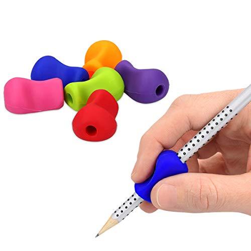 kwmobile 6x Silikon Stiftehalter - Schreibhilfe für Stift Bleistift Griff - Linkshänder Rechtshänder Buntstift Halter in Mehrfarbig