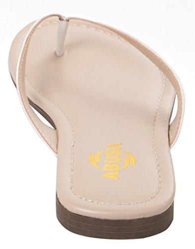 ABUSA Damen Simple Classic Leder Flip Flops Weiß