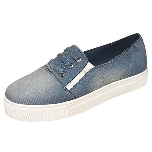 MakefortuneDamen Damen Mädchen Niedrige Demin Schnürschuhe Pumps Leinenschuhe Sneakers Größe UK 3 4 5 6 7 8 9 Hellblau/Dunkelblau/Grau