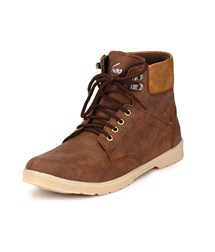 Knoos Men's Brown Synthetic Leather Trak Outdoor Casual Boots (NJ-01, Size: 8 UK/IND)-NJ-01-BR-8