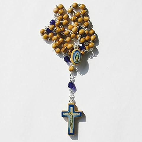 Chapelet perles en bois d'olivier - perles intermédiaires et croix en bois illustrée, 41cm