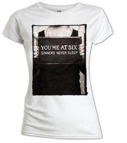 YOU ME AT SIX - SINNERS NEVER SLEEP - T-SHIRT UFFICIALE DONNA - Bianco, X-Large