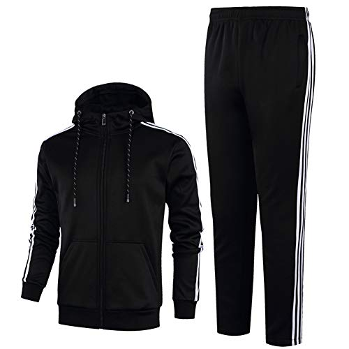 ZWYY Herren-Tracksuit, Casual Casual Hooded Activewear Full Zip Jogging Sweat Suits 2 Piece Set Gym Running Top and Pants,Black,2XL Black Hooded Jogging-set