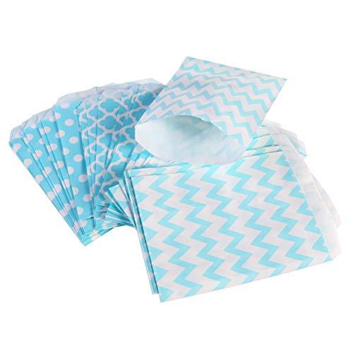 Toyvian Party Papier Candy Cookie Taschen 24pcs gestreiften Dot wellig Treat Taschen gefallen Tasche Party Supplies (3 Muster gemischt, blau) (Papier Candy Dot Dem Auf)