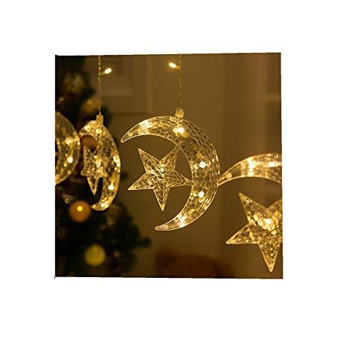 ODJOY-FAN LED Zeichenfolge Licht Mond Vorhang Beleuchtung, Fenster Vorhang Zeichenfolge Licht Lichterketten Wohnaccessoires String Light Zuhause Lichter Zubehör (Gelb,1 PC)