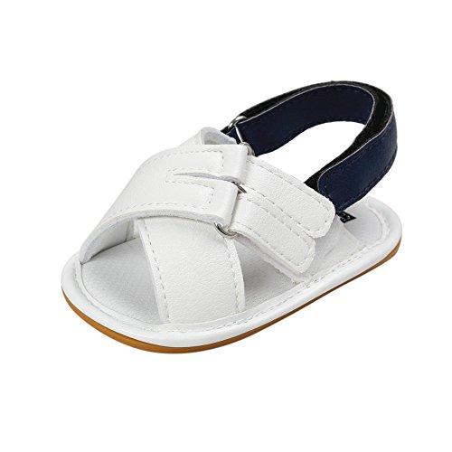 MiyaSudy Neugeborenes Baby Jungen Sandalen Schuhe Weiche Sohle Klettverschluss Lauflernschuhe Krabbelschuhe Erste Wanderer 0-18 Monate Weiß