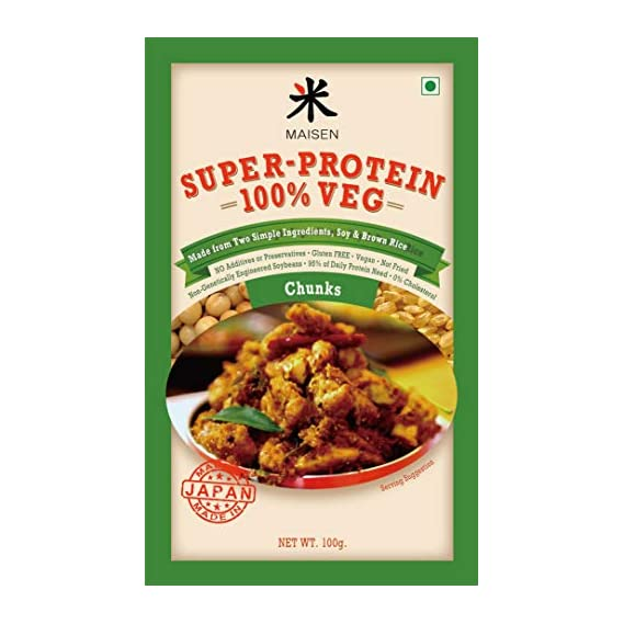 Maisen Super-Protein 100% Veg Chunks 'Made from Two Simple Ingredients, Soy & Brown Rice Extract' -Made in Japan (Pack of 4)