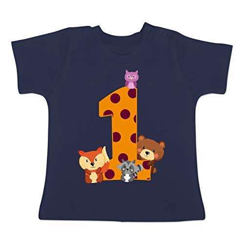 Geburtstag Baby - 1. Geburtstag Waldtiere - 12-18 Monate - Navy Blau - BZ02 - Baby T-Shirt Kurzarm