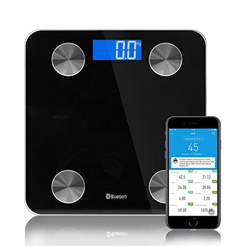 Digitale Körperfettwaage mit APP, Smart Bluetooth Digital Personenwaage Körperfett Waage Körperwaage mit BIA Technologie für Körperfettanalyse /BMI-Rechner / BMR / Fitness-Monitor / Badezimmerskala / Wasser Muskel etc, 180kg Kapazität, Batterie eingeschlossen, Schwarz