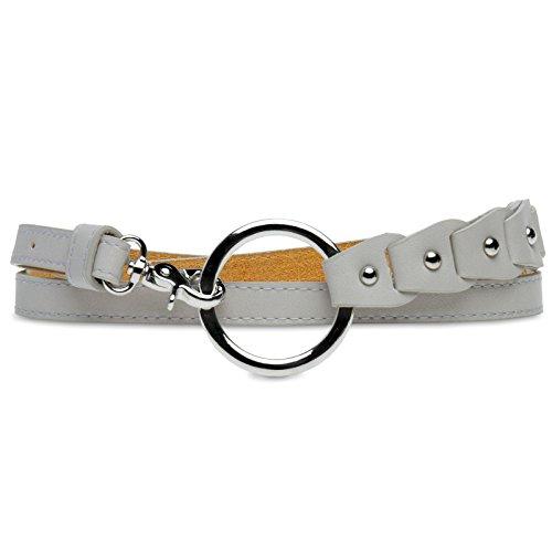 CASPAR GU297 schmaler Damen Taillengürtel, Farbe:hellgrau, Gürtelgröße:90 [für Körperumfang 86-91 cm] (Gürtel Schnalle Kreis)
