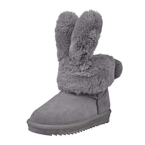 Frashing Damen Winterschuhe Warm Gefütterte Boots Stiefelette Outdoor Schneestiefel Winter Schuhe Hasenohren Stiefel Warme Winter rutschfeste Fleece Schuhe