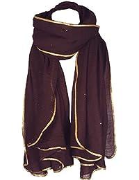World of Shawls saisonnier Spécial NEUF FEMMES Style Célébrité paillette  brillant STARDUST AVEC OR passepoil bordure fc28a34583a