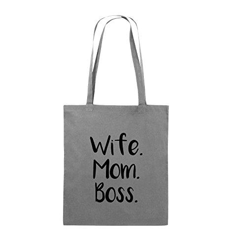 Buste Comiche - Moglie Mom Boss - Borsa In Juta - Manico Lungo - 38x42cm - Colore: Nero / Rosa Grigio Scuro / Nero