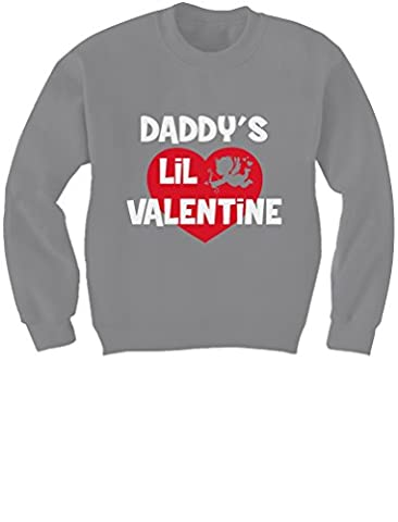 Cute Valentine's Day Gift - Daddy's Lil Valentine Kids Sweatshirt X-Large Gray