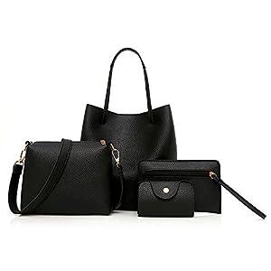 Kangrunmy 4Pcs Femmes ModèLe En Cuir Sac à Main + BandoulièRe Bag + Sac Messenger + Paquet De Cartes Sets