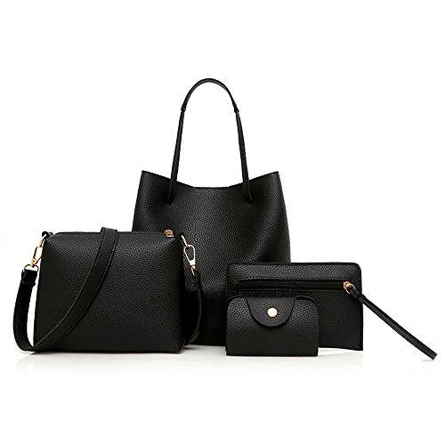 Lanskrlsp 4 set borse donna, 4 pezzi modello donna borsa in pelle + borsa crossbody + borsa messenger + pacchetto carta (nero)