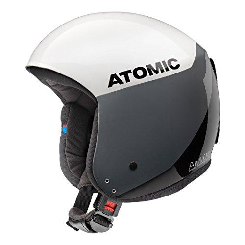 Atomic casco da sci da gara, da uomo/donna, conforme alle norme di sicurezza, tecnologia amid, norme fis, redster wc amid, taglia xl, circonferenza della testa 59,5-60,5 cm, bianco/nero, an5005428xl