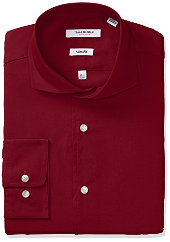 isaac-mizrahi-mens-slim-fit-solid-broadcloth-cut-away-collar-dress-shirt-crimson-17-neck-34-35-sleev
