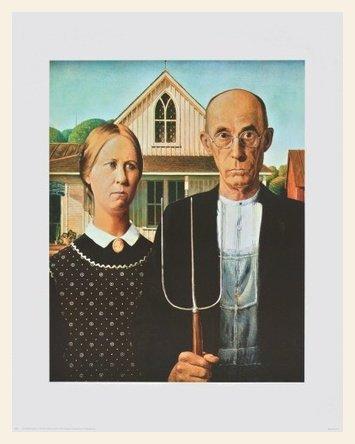 Grant Wood American Gothic Poster Bild Kunstdruck im Holz Rahmen in Ahorn Weiss lasiert 71,2x56cm - Grant Holz-künstler