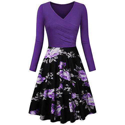Xmiral Kleid Damen Vintage Langarm V-Ausschnitt Abend Party Ballkleider Patchwork Tailliert Slim Fit ()